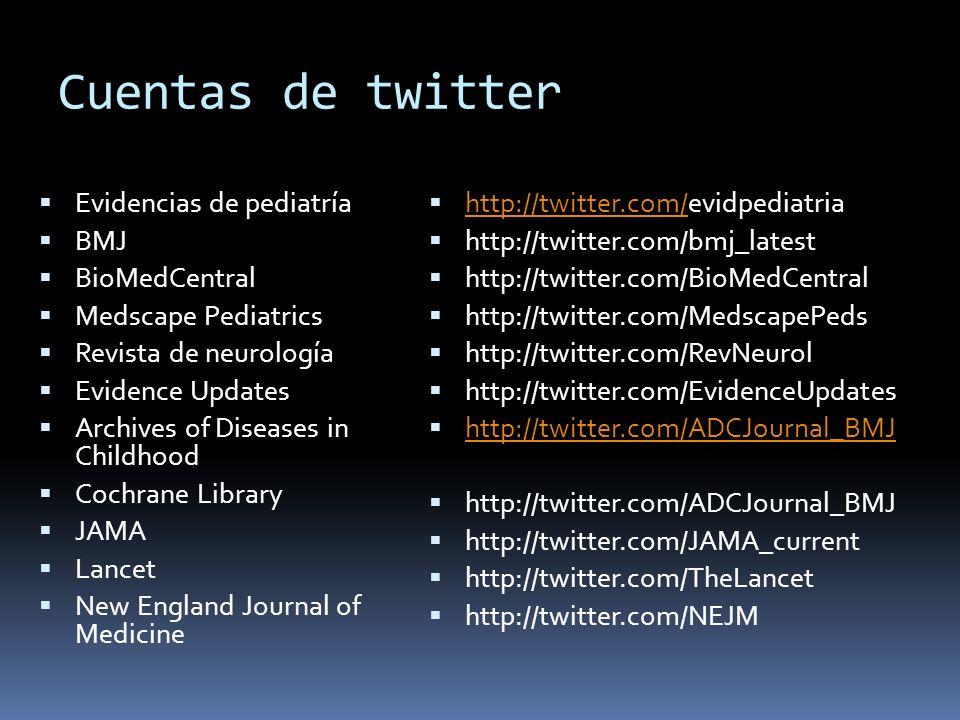 Cuentas de twitter Evidencias de pediatría BMJ BioMedCentral Medscape Pediatrics Revista de neurología Evidence Updates Archives of Diseases in Childh