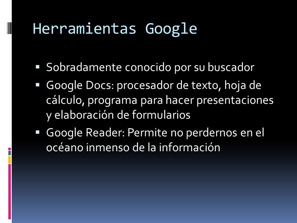 Herramientas Google Sobradamente conocido por su buscador Google Docs: procesador de texto, hoja de cálculo, programa para hacer presentaciones y elab