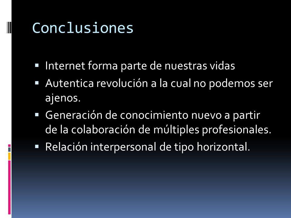 Conclusiones Internet forma parte de nuestras vidas Autentica revolución a la cual no podemos ser ajenos. Generación de conocimiento nuevo a partir de