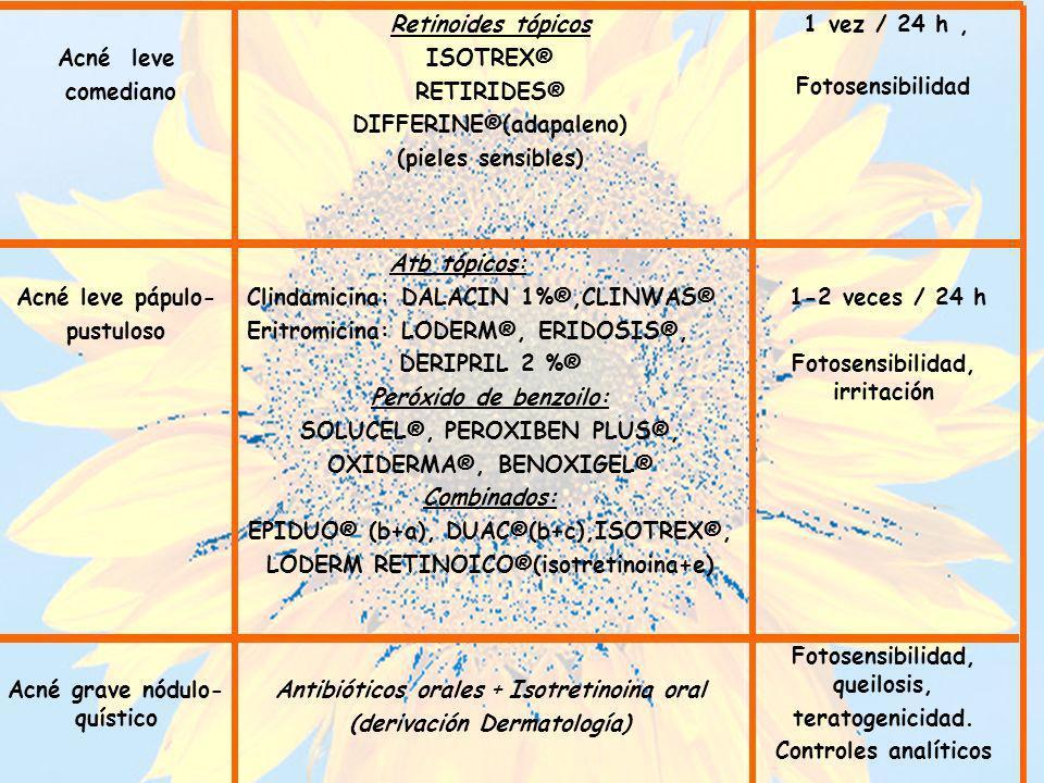 Acné leve comediano Retinoides tópicos ISOTREX® RETIRIDES® DIFFERINE®(adapaleno) (pieles sensibles) 1 vez / 24 h, Fotosensibilidad Acné leve pápulo- p