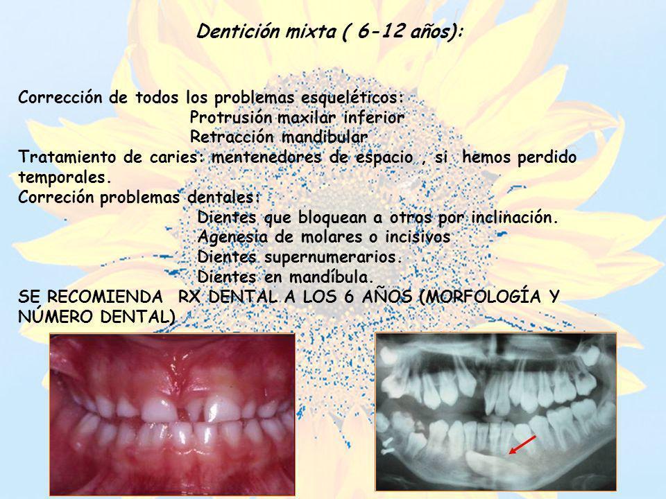 Dentición mixta ( 6-12 años): Corrección de todos los problemas esqueléticos: Protrusión maxilar inferior Retracción mandibular Tratamiento de caries: