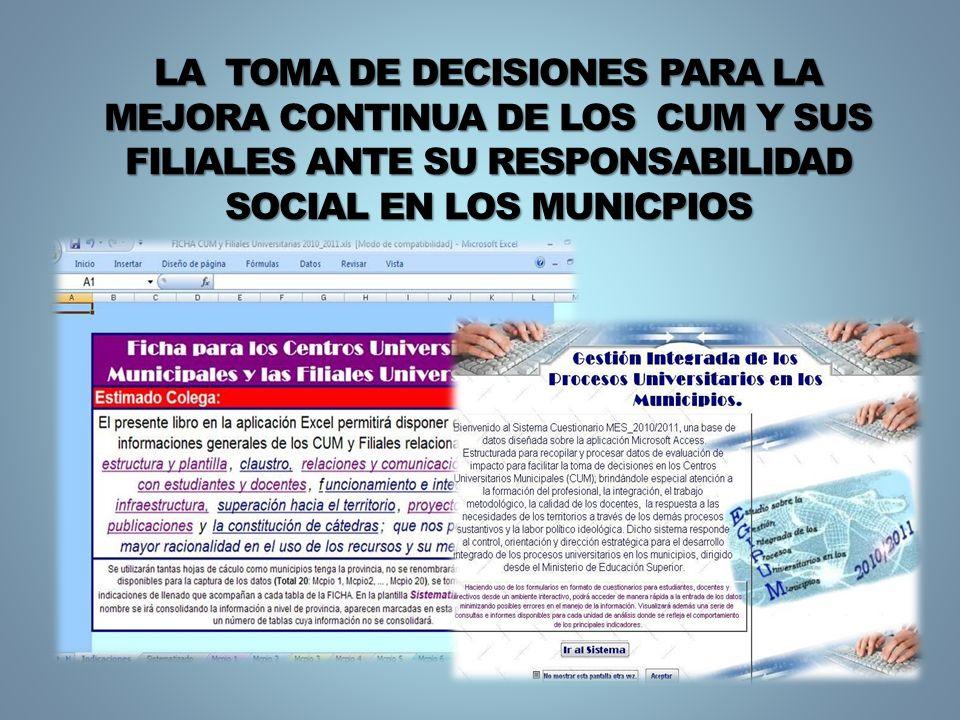 LA TOMA DE DECISIONES PARA LA MEJORA CONTINUA DE LOS CUM Y SUS FILIALES ANTE SU RESPONSABILIDAD SOCIAL EN LOS MUNICPIOS