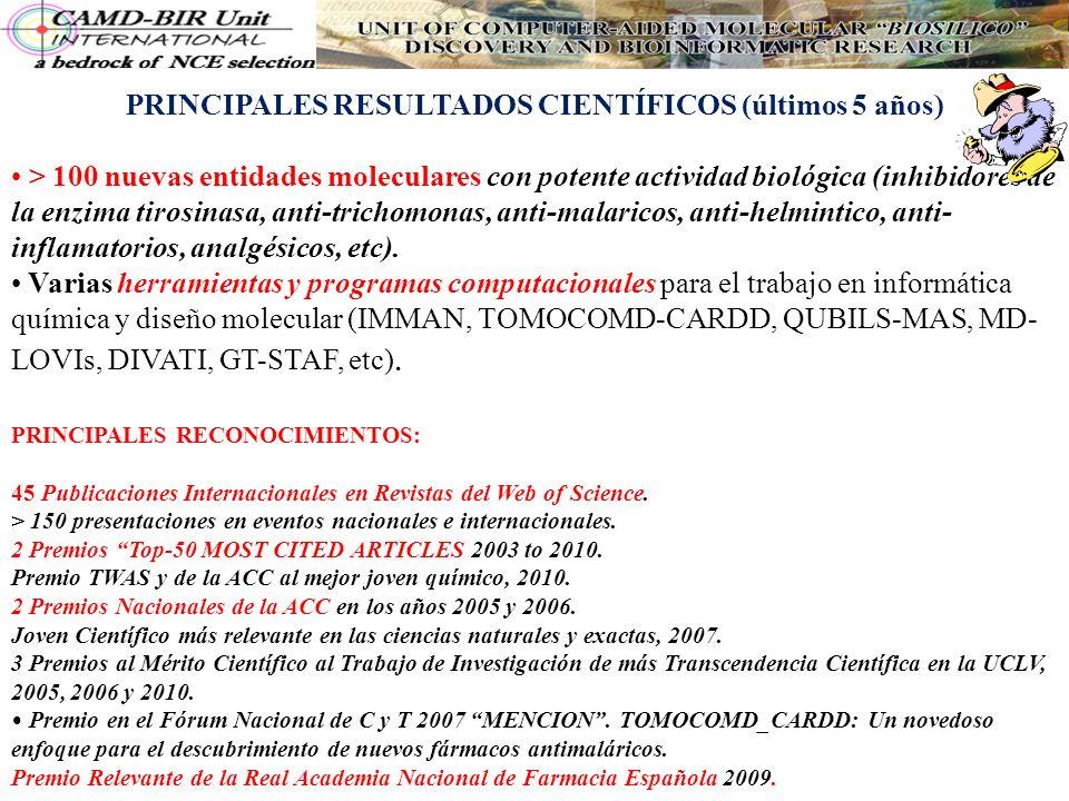PRINCIPALES RESULTADOS CIENTÍFICOS (últimos 5 años) > 100 nuevas entidades moleculares con potente actividad biológica (inhibidores de la enzima tiros
