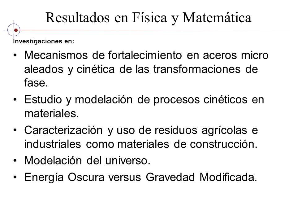 Resultados en Física y Matemática Investigaciones en: Mecanismos de fortalecimiento en aceros micro aleados y cinética de las transformaciones de fase