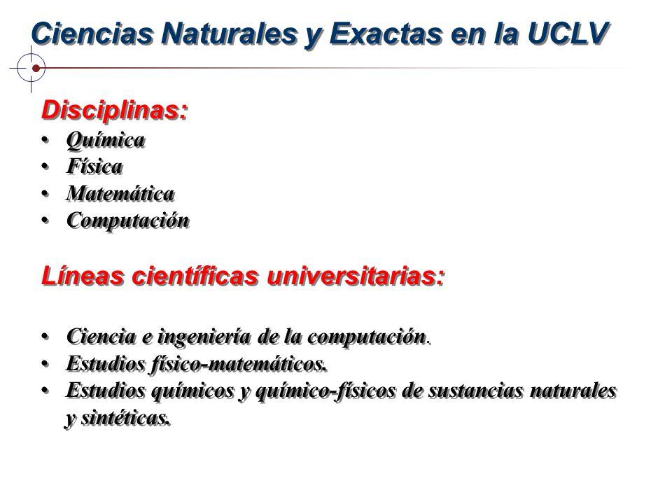 Ciencias Naturales y Exactas en la UCLV Disciplinas: Química Física Matemática Computación Líneas científicas universitarias: Ciencia e ingeniería de