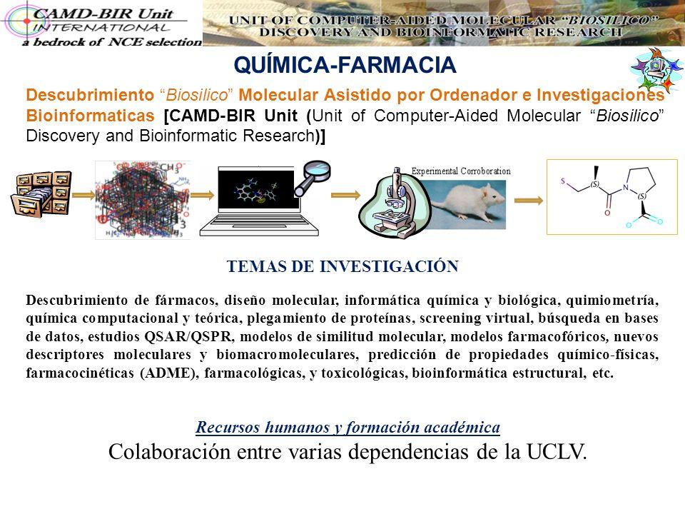QUÍMICA-FARMACIA Descubrimiento Biosilico Molecular Asistido por Ordenador e Investigaciones Bioinformaticas [CAMD-BIR Unit (Unit of Computer-Aided Mo