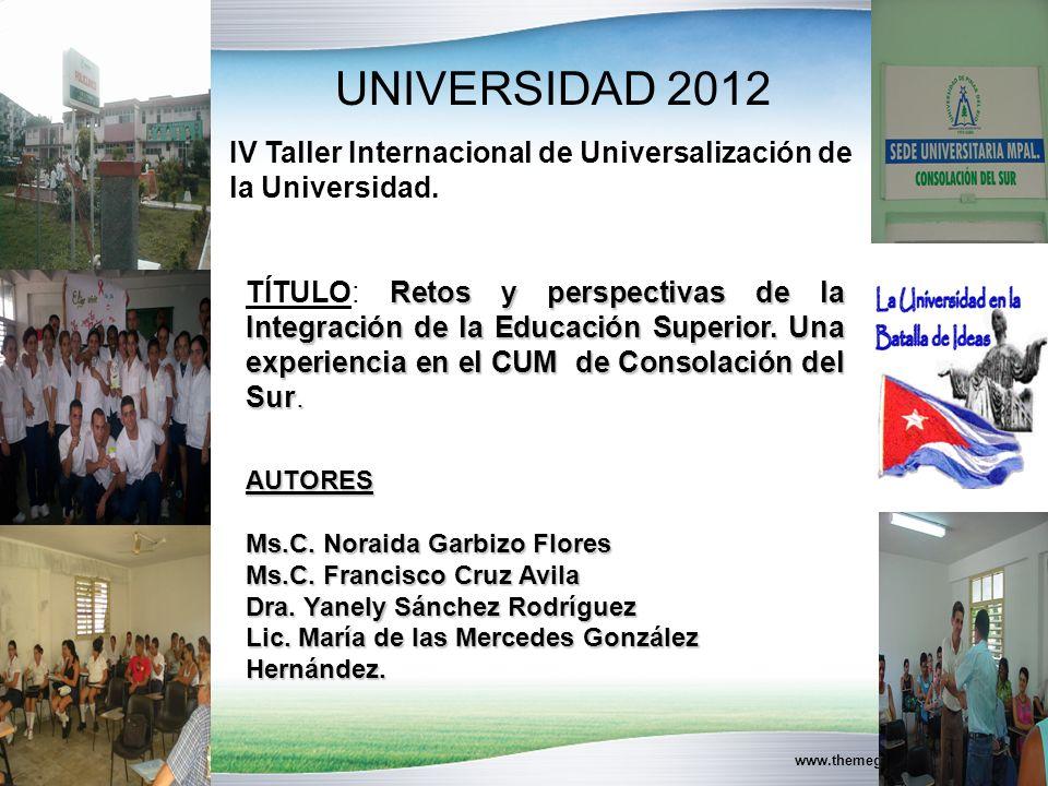www.themegallery.com UNIVERSIDAD 2012 Retos y perspectivas de la Integración de la Educación Superior.
