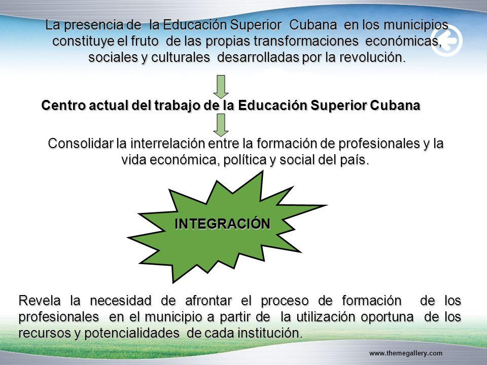 www.themegallery.com Centro actual del trabajo de la Educación Superior Cubana Consolidar la interrelación entre la formación de profesionales y la vida económica, política y social del país.