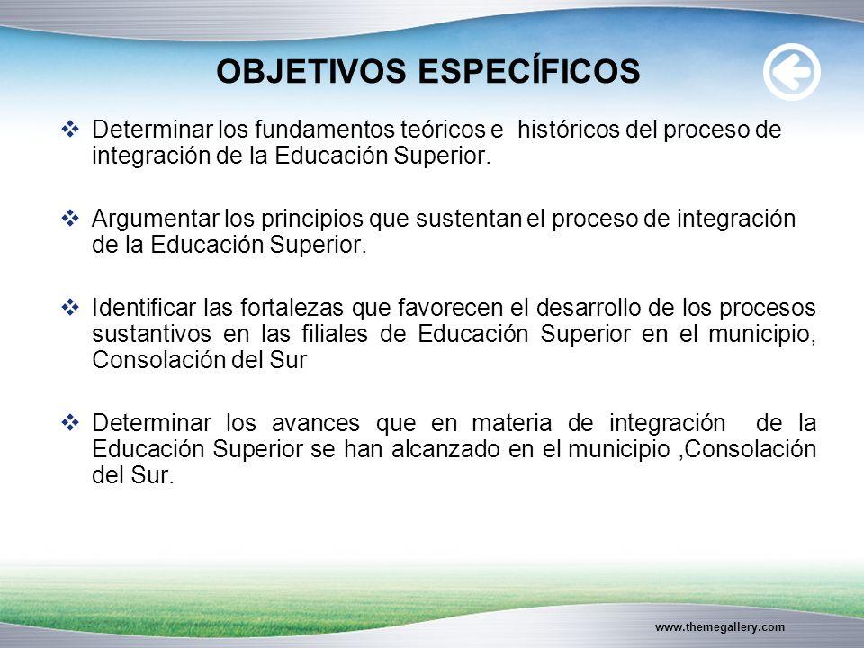 www.themegallery.com OBJETIVOS ESPECÍFICOS Determinar los fundamentos teóricos e históricos del proceso de integración de la Educación Superior.
