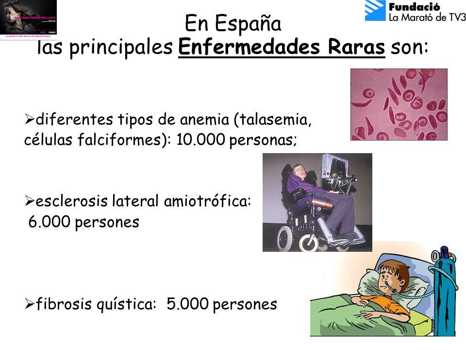 En España las principales Enfermedades Raras son: diferentes tipos de anemia (talasemia, células falciformes): 10.000 personas; esclerosis lateral amiotrófica: 6.000 persones fibrosis quística: 5.000 persones