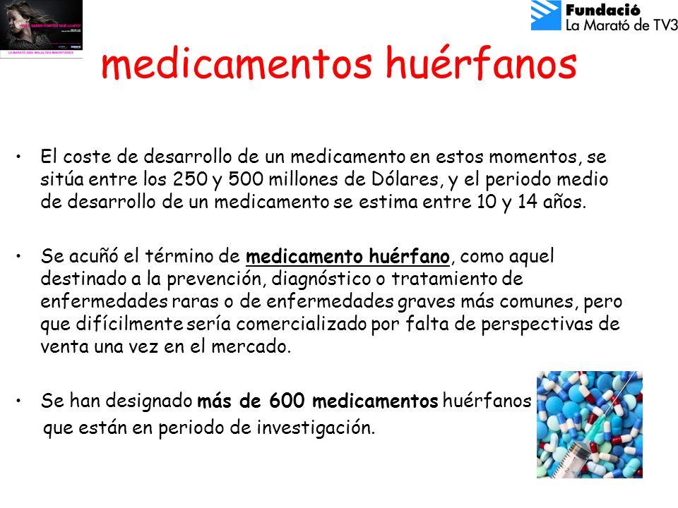 medicamentos huérfanos El coste de desarrollo de un medicamento en estos momentos, se sitúa entre los 250 y 500 millones de Dólares, y el periodo medio de desarrollo de un medicamento se estima entre 10 y 14 años.