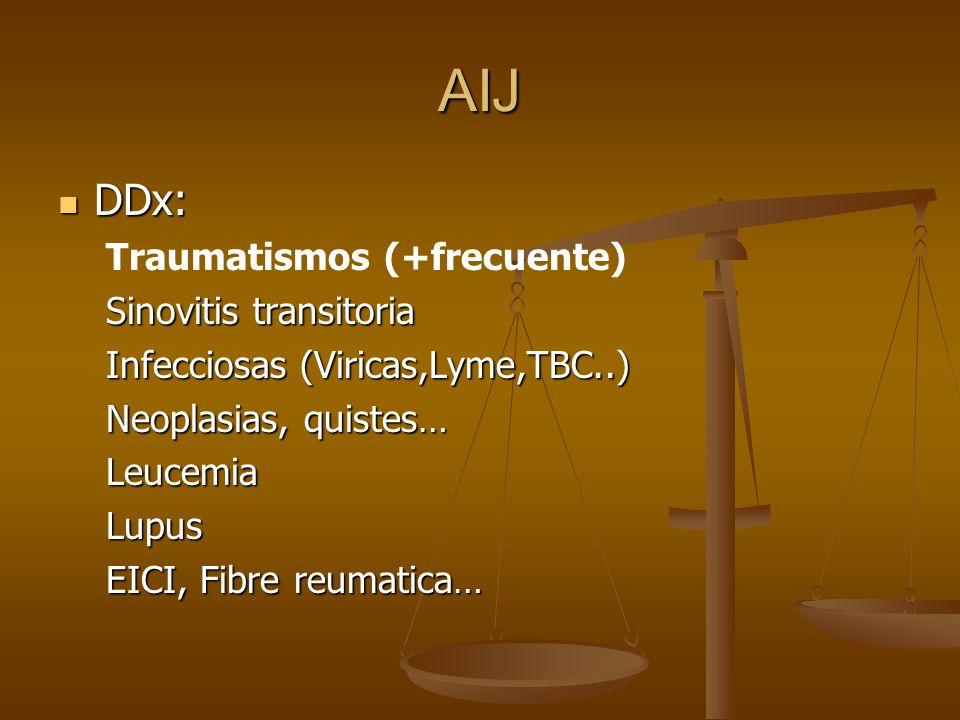 AIJ DDx: DDx: Traumatismos (+frecuente) Sinovitis transitoria Infecciosas (Viricas,Lyme,TBC..) Neoplasias, quistes… LeucemiaLupus EICI, Fibre reumatic
