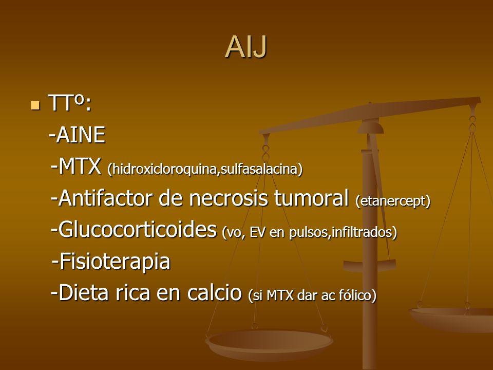 AIJ TTº: TTº:-AINE -MTX (hidroxicloroquina,sulfasalacina) -MTX (hidroxicloroquina,sulfasalacina) -Antifactor de necrosis tumoral (etanercept) -Antifac