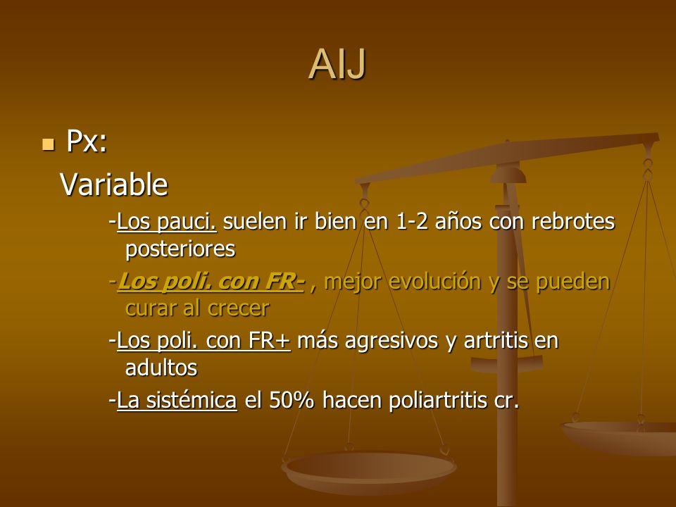 AIJ Px: Px: Variable Variable -Los pauci. suelen ir bien en 1-2 años con rebrotes posteriores -Los poli. con FR-, mejor evolución y se pueden curar al