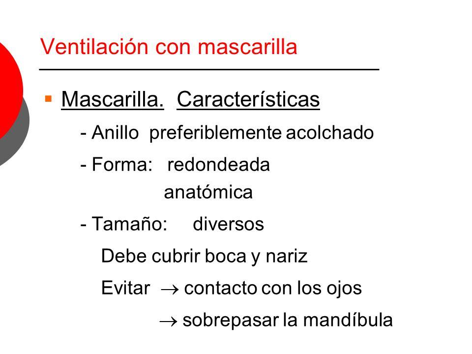 Ventilación con mascarilla Mascarilla. Características - Anillo preferiblemente acolchado - Forma: redondeada anatómica - Tamaño: diversos Debe cubrir