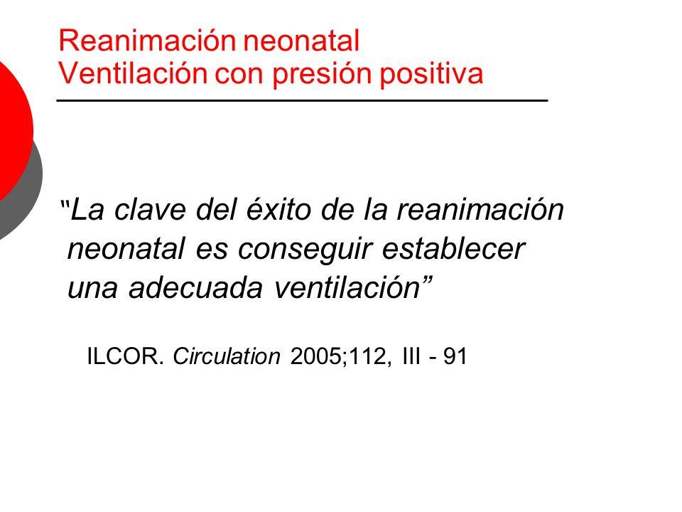 Reanimación neonatal Ventilación con presión positiva La clave del éxito de la reanimación neonatal es conseguir establecer una adecuada ventilación I