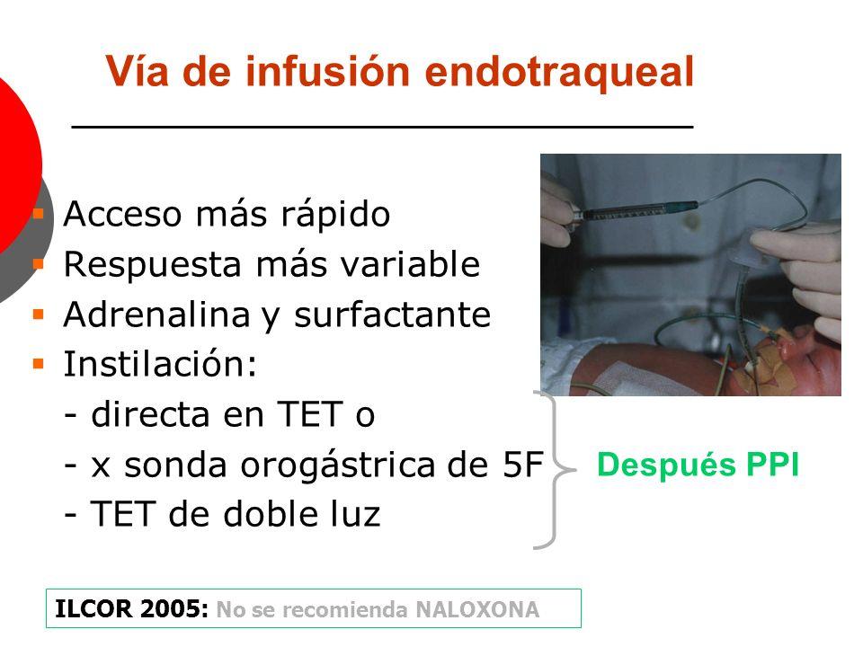 Vía de infusión endotraqueal Acceso más rápido Respuesta más variable Adrenalina y surfactante Instilación: - directa en TET o - x sonda orogástrica d