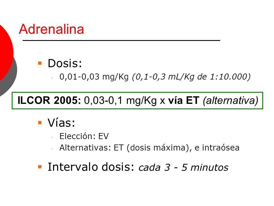 Dosis: - 0,01-0,03 mg/Kg (0,1-0,3 mL/Kg de 1:10.000) Vías: - Elección: EV - Alternativas: ET (dosis máxima), e intraósea Intervalo dosis: cada 3 - 5 m