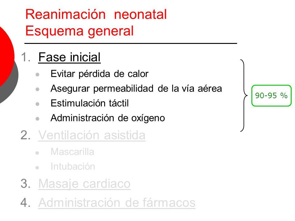 Aspectos fundamentales Ventilación con mascarilla Aspectos fundamentales 1.Sellado de la mascarilla 2.Posición del cuello 3.Tiempo y (presión) de insuflación 4.Inspección de la expansión del tórax 5.Necesidad sonda orogástrica si se prolonga > 2 6.Contraindicada en Hernia diafragmática