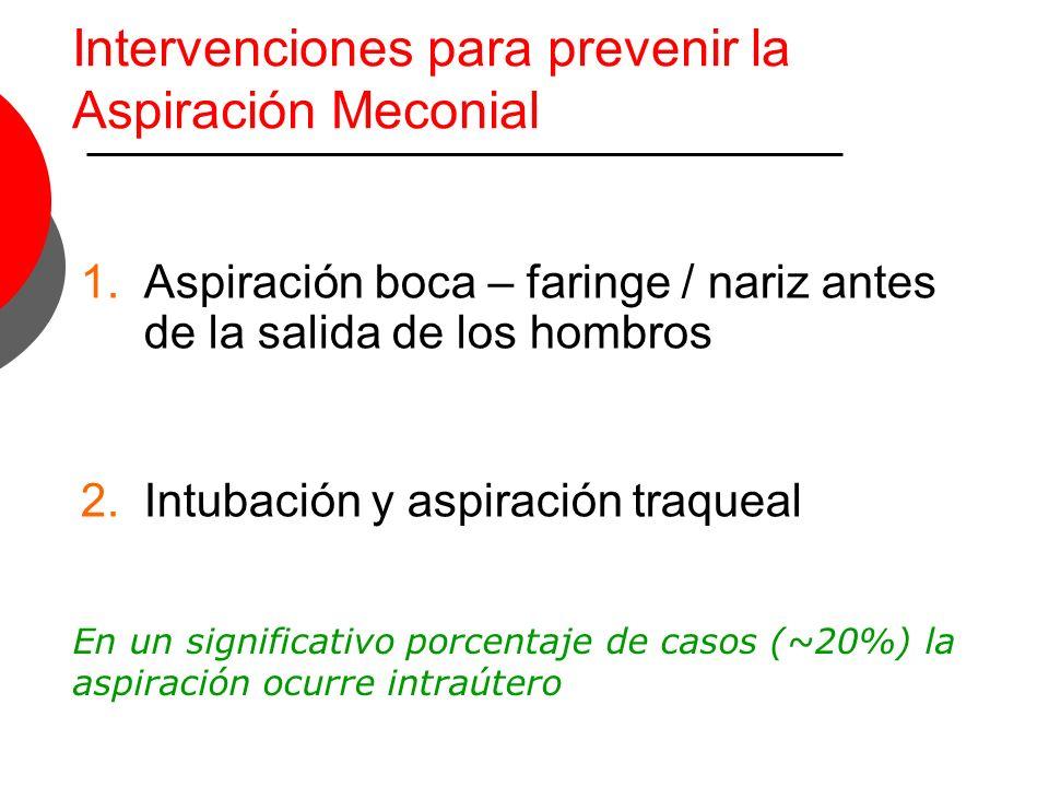 Intervenciones para prevenir la Aspiración Meconial 1.Aspiración boca – faringe / nariz antes de la salida de los hombros 2.Intubación y aspiración tr