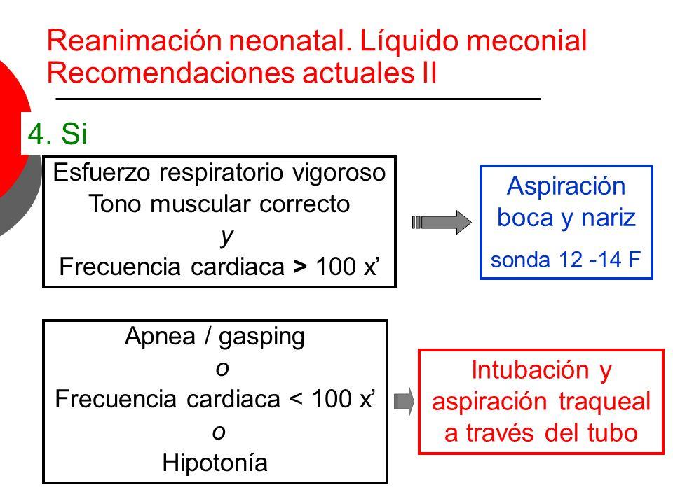 Esfuerzo respiratorio vigoroso Tono muscular correcto y Frecuencia cardiaca > 100 x Aspiración boca y nariz sonda 12 -14 F Apnea / gasping o Frecuenci