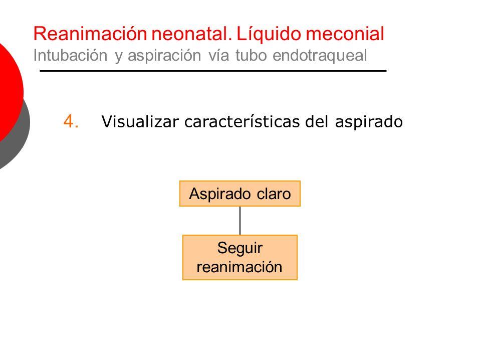 Reanimación neonatal. Líquido meconial Intubación y aspiración vía tubo endotraqueal Aspirado claro Seguir reanimación 4. Visualizar características d