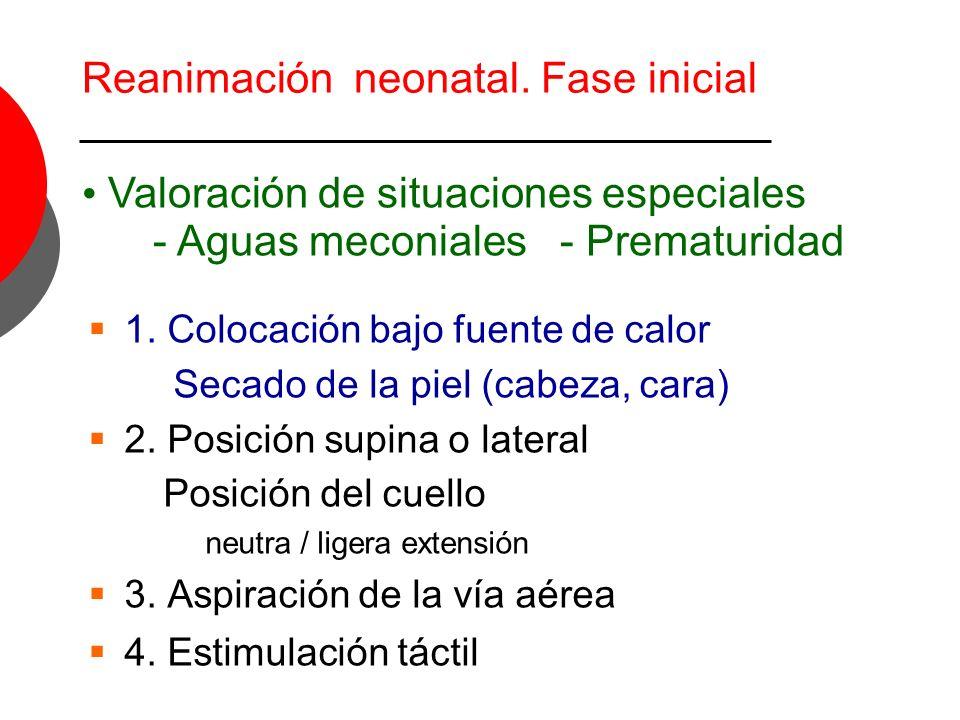 EspontáneasNinguna FC < 100 x FC > 100 x Color Evaluar respiraciones FC IPPV Fase inicial Cuna térmica Aspiración vía aérea Estimulación