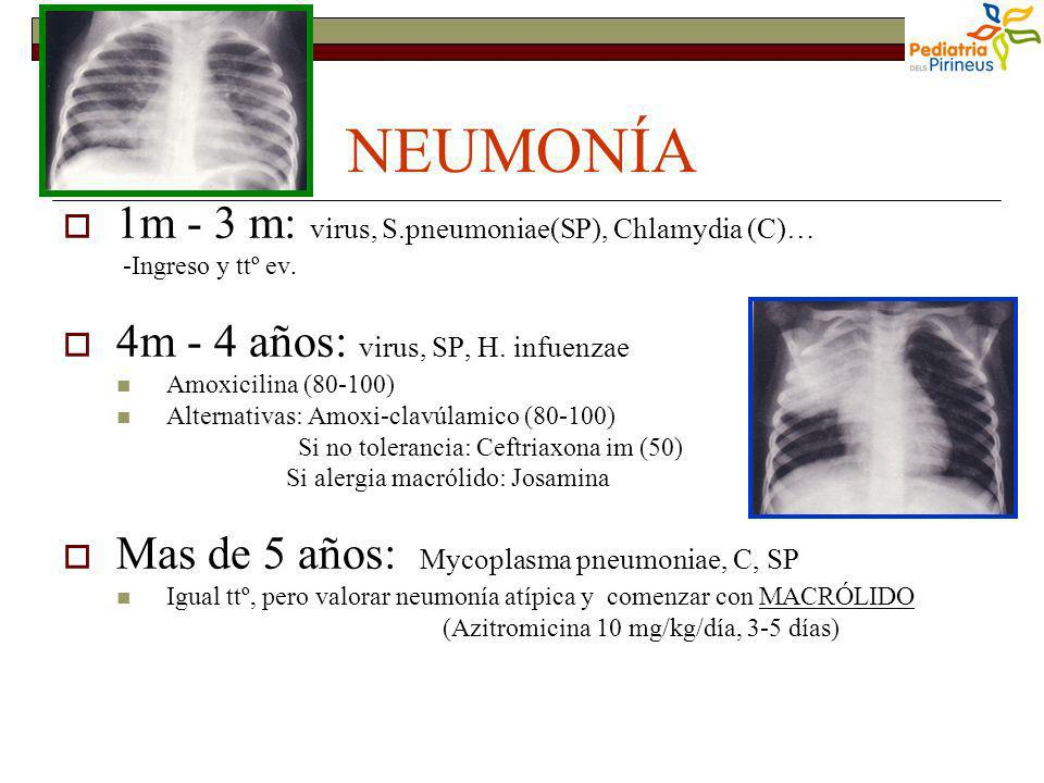 NEUMONÍA 1m - 3 m: virus, S.pneumoniae(SP), Chlamydia (C)… -Ingreso y ttº ev. 4m - 4 años: virus, SP, H. infuenzae Amoxicilina (80-100) Alternativas: