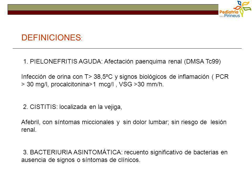 DEFINICIONES : 1. PIELONEFRITIS AGUDA: Afectación paenquima renal (DMSA Tc99) Infección de orina con T> 38,5ºC y signos biológicos de inflamación ( PC