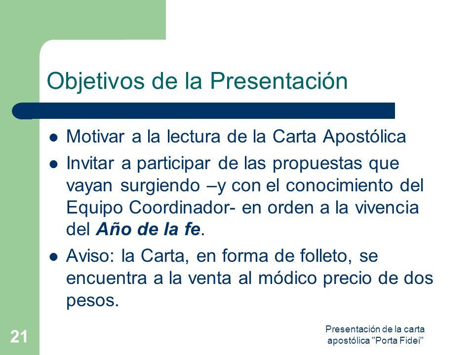 Presentación de la carta apostólica