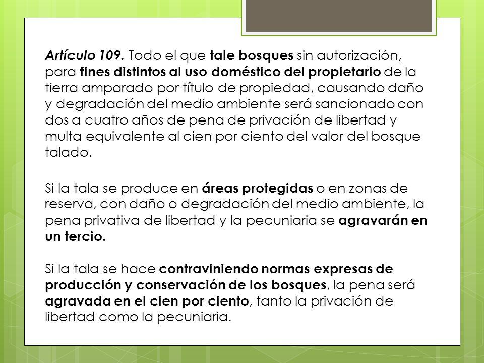 Artículo 109. Todo el que tale bosques sin autorización, para fines distintos al uso doméstico del propietario de la tierra amparado por título de pro
