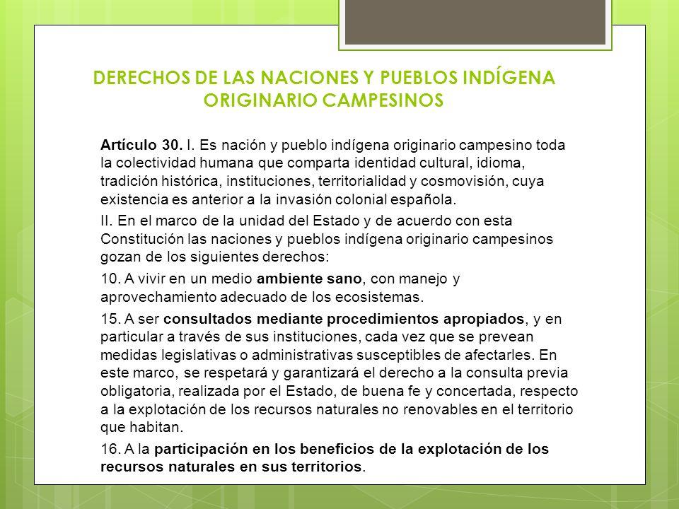 DERECHOS DE LAS NACIONES Y PUEBLOS INDÍGENA ORIGINARIO CAMPESINOS Artículo 30. I. Es nación y pueblo indígena originario campesino toda la colectivida