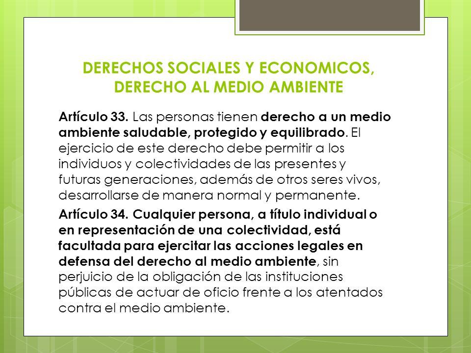 DERECHOS SOCIALES Y ECONOMICOS, DERECHO AL MEDIO AMBIENTE Artículo 33. Las personas tienen derecho a un medio ambiente saludable, protegido y equilibr