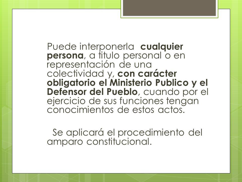 Puede interponerla cualquier persona, a titulo personal o en representación de una colectividad y, con carácter obligatorio el Ministerio Publico y el