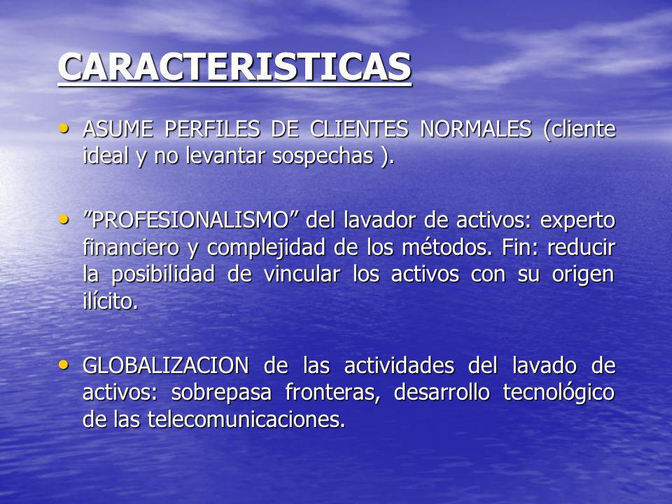CARACTERISTICAS ASUME PERFILES DE CLIENTES NORMALES (cliente ideal y no levantar sospechas ). ASUME PERFILES DE CLIENTES NORMALES (cliente ideal y no
