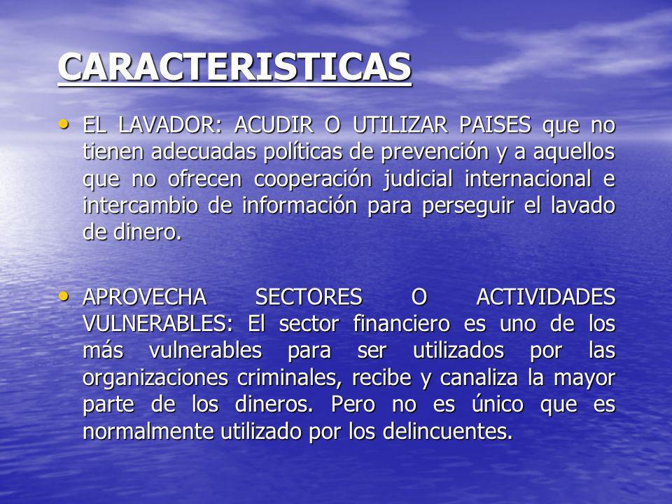 CARACTERISTICAS EL LAVADOR: ACUDIR O UTILIZAR PAISES que no tienen adecuadas políticas de prevención y a aquellos que no ofrecen cooperación judicial