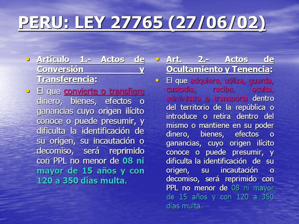 PERU: LEY 27765 (27/06/02) Artículo 1.- Actos de Conversión y Transferencia: Artículo 1.- Actos de Conversión y Transferencia: El que convierte o tran