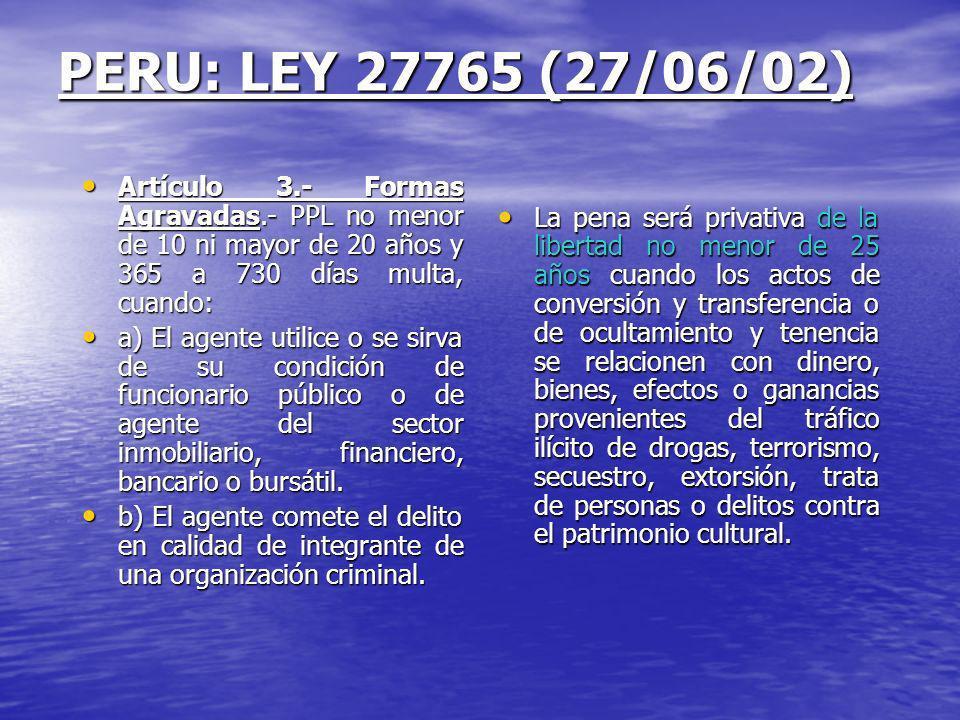 PERU: LEY 27765 (27/06/02) Artículo 3.- Formas Agravadas.- PPL no menor de 10 ni mayor de 20 años y 365 a 730 días multa, cuando: Artículo 3.- Formas