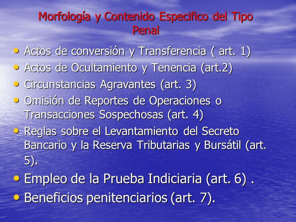 Morfología y Contenido Especifico del Tipo Penal Actos de conversión y Transferencia ( art. 1) Actos de conversión y Transferencia ( art. 1) Actos de