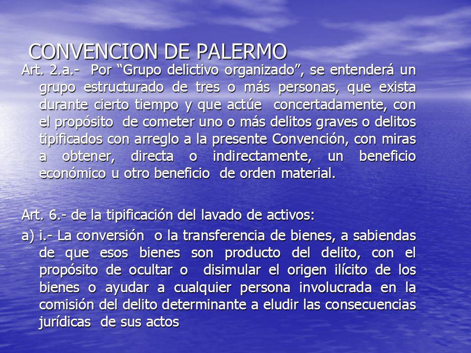 CONVENCION DE PALERMO Art. 2.a.- Por Grupo delictivo organizado, se entenderá un grupo estructurado de tres o más personas, que exista durante cierto