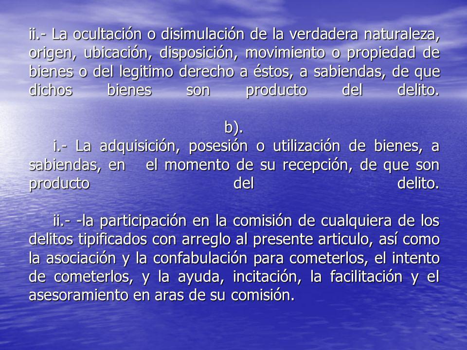 ii.- La ocultación o disimulación de la verdadera naturaleza, origen, ubicación, disposición, movimiento o propiedad de bienes o del legitimo derecho