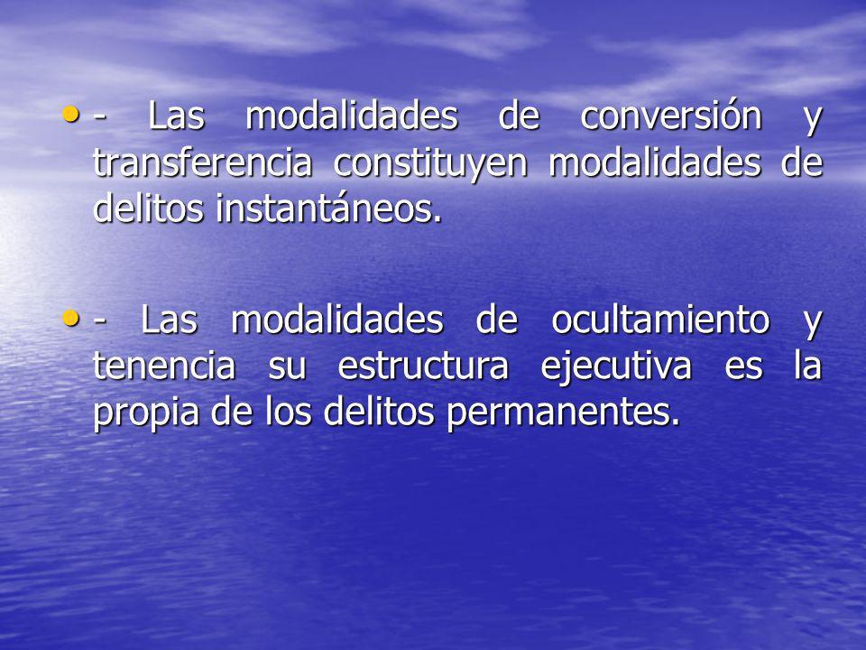 - Las modalidades de conversión y transferencia constituyen modalidades de delitos instantáneos. - Las modalidades de conversión y transferencia const