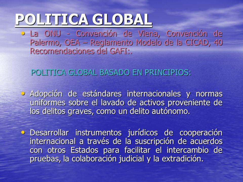 POLITICA GLOBAL La ONU - Convención de Viena, Convención de Palermo, OEA – Reglamento Modelo de la CICAD, 40 Recomendaciones del GAFI:. La ONU - Conve