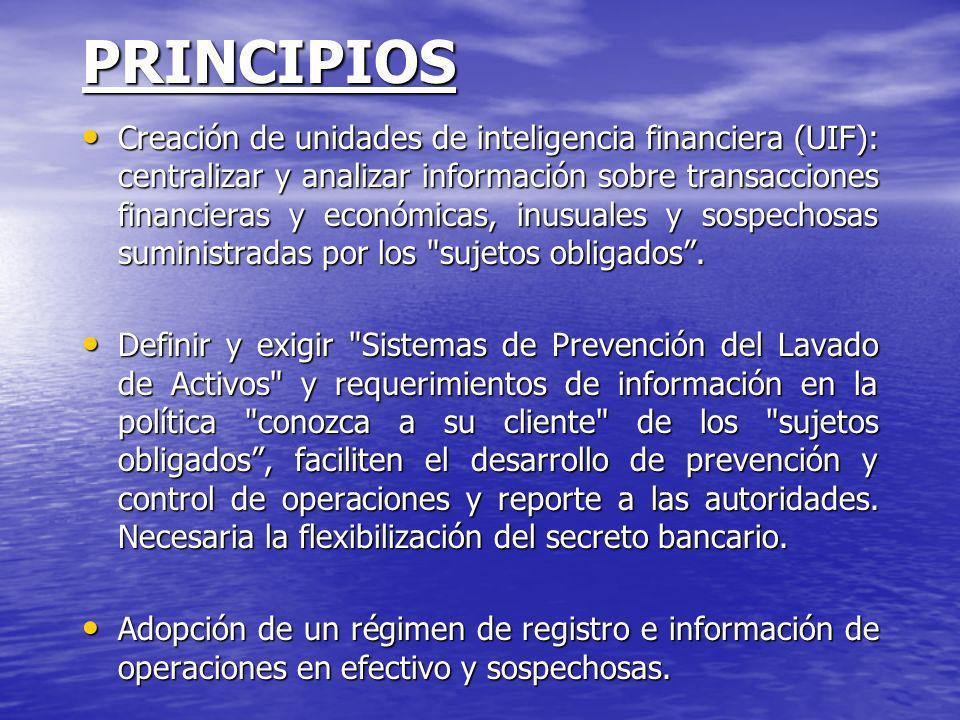 PRINCIPIOS Creación de unidades de inteligencia financiera (UIF): centralizar y analizar información sobre transacciones financieras y económicas, inu