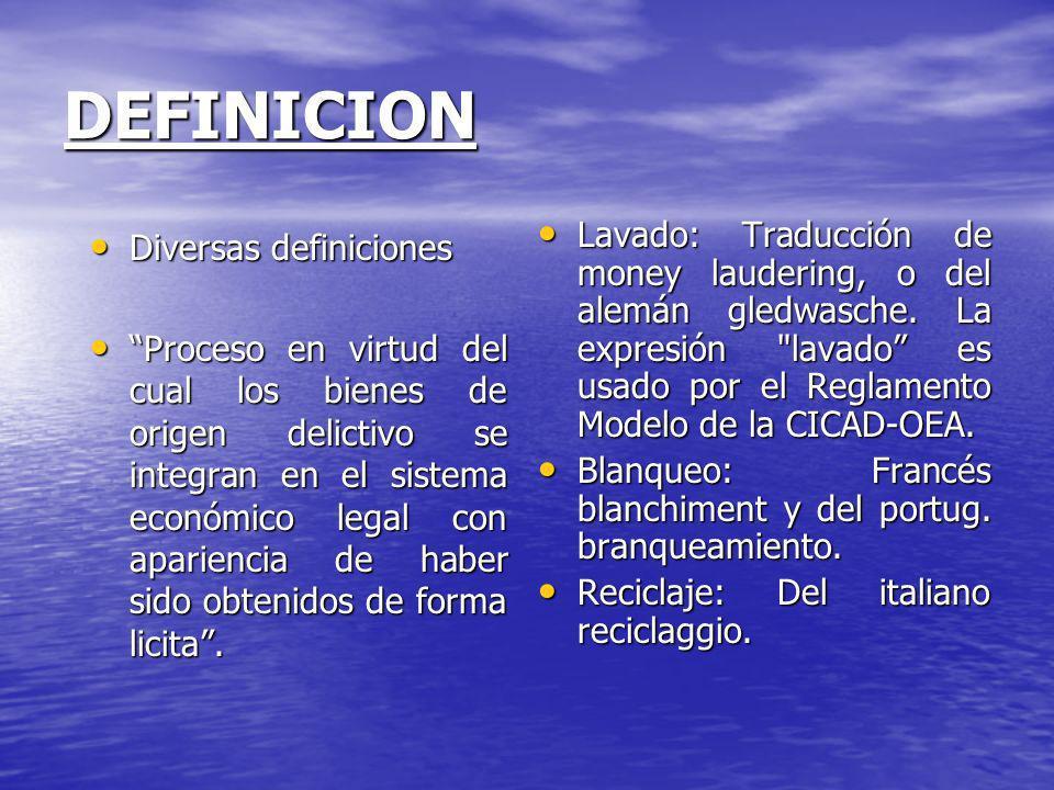DEFINICION Diversas definiciones Diversas definiciones Proceso en virtud del cual los bienes de origen delictivo se integran en el sistema económico l