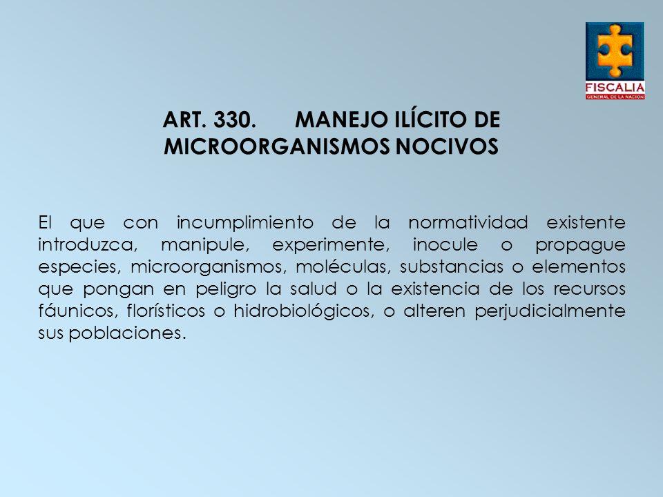 ART. 330.MANEJO ILÍCITO DE MICROORGANISMOS NOCIVOS El que con incumplimiento de la normatividad existente introduzca, manipule, experimente, inocule o