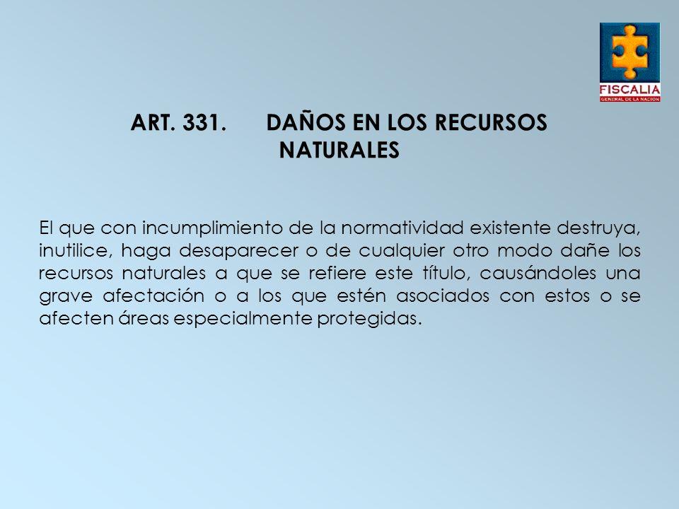 ART. 331.DAÑOS EN LOS RECURSOS NATURALES El que con incumplimiento de la normatividad existente destruya, inutilice, haga desaparecer o de cualquier o