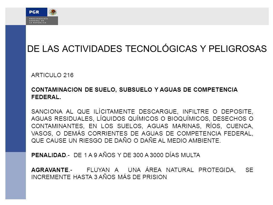 DE LAS ACTIVIDADES TECNOLÓGICAS Y PELIGROSAS ARTICULO 216 CONTAMINACION DE SUELO, SUBSUELO Y AGUAS DE COMPETENCIA FEDERAL. SANCIONA AL QUE ILÍCITAMENT