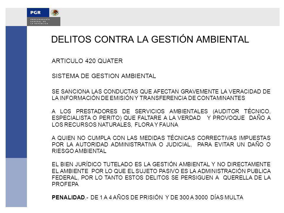 DELITOS CONTRA LA GESTIÓN AMBIENTAL ARTICULO 420 QUATER SISTEMA DE GESTION AMBIENTAL SE SANCIONA LAS CONDUCTAS QUE AFECTAN GRAVEMENTE LA VERACIDAD DE