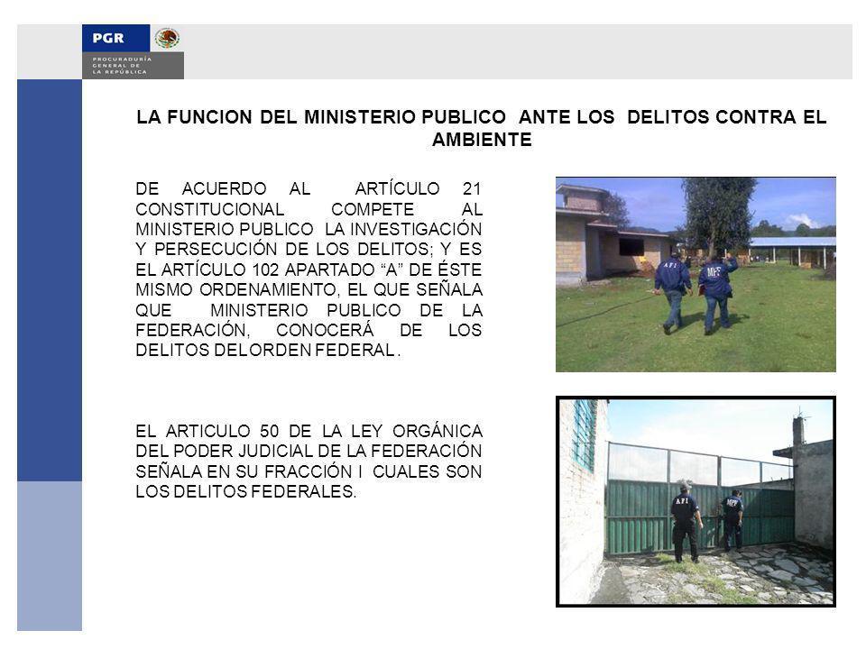 LA FUNCION DEL MINISTERIO PUBLICO ANTE LOS DELITOS CONTRA EL AMBIENTE DE ACUERDO AL ARTÍCULO 21 CONSTITUCIONAL COMPETE AL MINISTERIO PUBLICO LA INVEST